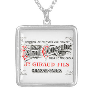 French perfume label silver plated necklace