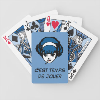 French Perley Girl Blue Cards Jouer Vintage