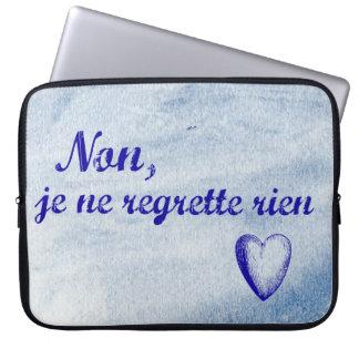 French phrase 'non je ne regrette rien' no regrets computer sleeve