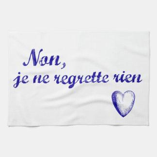 French phrase 'non je ne regrette rien' no regrets hand towels