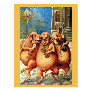 French Pigs Celebrate the New Year Vintage Postcard