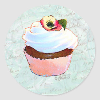 French pink Chocolate Cupcake Victorian Style Classic Round Sticker