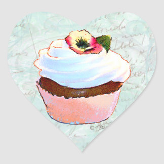 French pink Chocolate Cupcake Victorian Style Heart Sticker