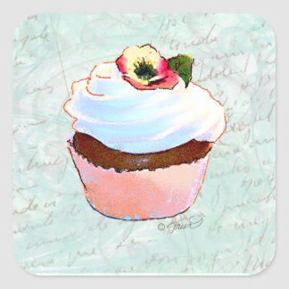 French pink Chocolate Cupcake Victorian Style Square Sticker