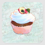 French pink Chocolate Cupcake Victorian Style Square Stickers