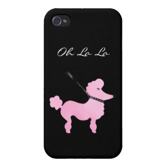 French Pink Poodle On Black With Oh La La Covers For iPhone 4