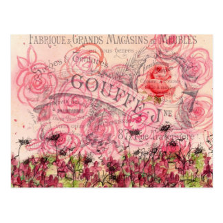 French Pink Rose Flower Watercolor Collage Postcard