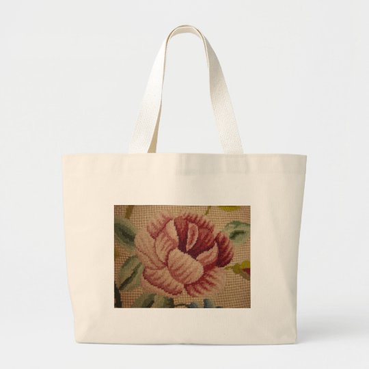 French Pink Rose Tapestry Large Tote Bag