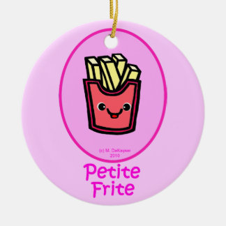 French - Pink Small Fry - French Fries Double-Sided Ceramic Round Christmas Ornament
