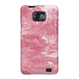 French Pink Toile de Jouy Shabby Counry Landscape Galaxy SII Covers