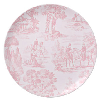 French Pink Toile de Juoy Pattern Vintage Melamine Plate