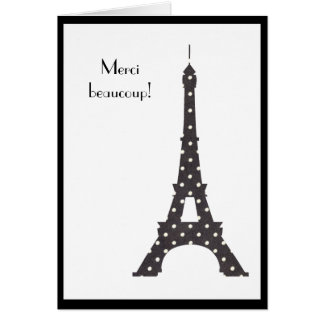 French Polka Dots Eiffel Tower Thank You Greeting Card