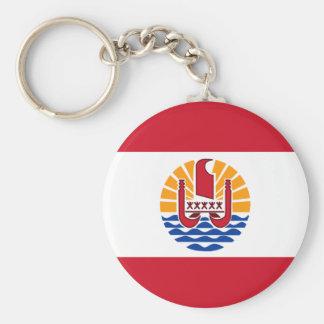 french polynesia basic round button keychain