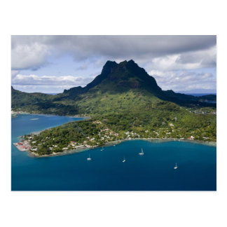 French Polynesia, Bora Bora. Aerial view of Postcard