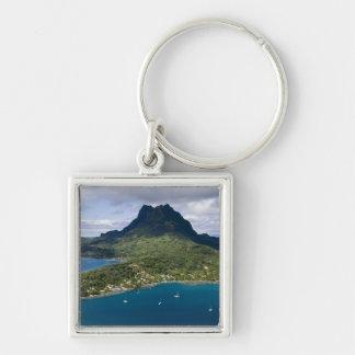 French Polynesia, Bora Bora. Aerial view of Silver-Colored Square Keychain