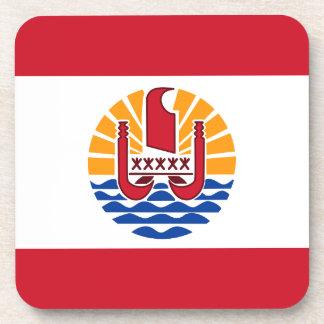 French Polynesia Flag, Drapeau Polynésie Française Beverage Coaster