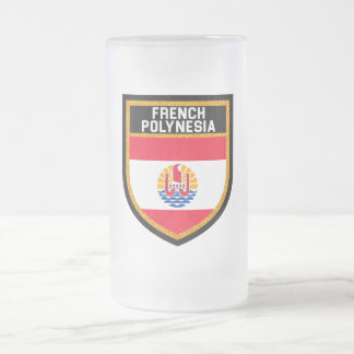 French Polynesia Flag Frosted Glass Beer Mug
