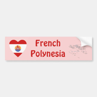French Polynesia Flag Heart + Map Bumper Sticker