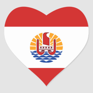 French Polynesia Flag Heart Sticker
