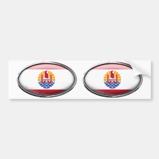 French Polynesia Flag in Glass Oval Bumper Sticker
