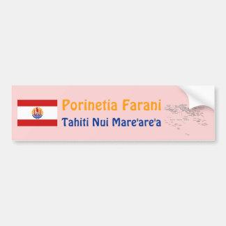 French Polynesia Flag + Map Bumper Sticker Car Bumper Sticker