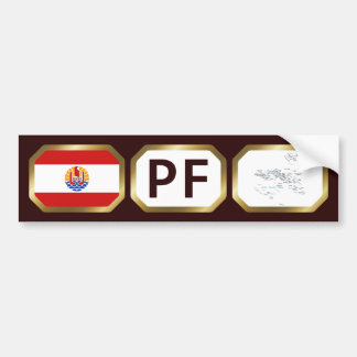 French Polynesia Flag Map Code Bumper Sticker Car Bumper Sticker