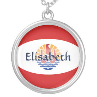 French Polynesia Flag + Name Necklace