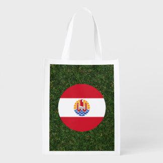 French Polynesia Flag on Grass Reusable Grocery Bag