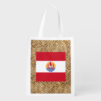 French Polynesia Flag on Textile themed Grocery Bags
