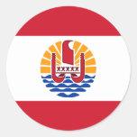 French Polynesia Flag PF Round Sticker