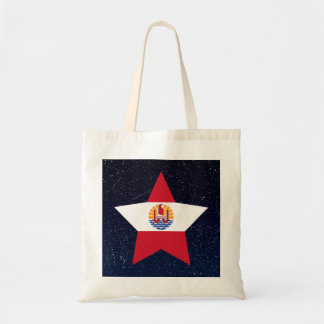 French Polynesia Flag Star In Space Budget Tote Bag