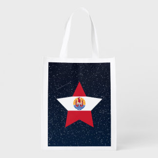 French Polynesia Flag Star In Space Reusable Grocery Bags