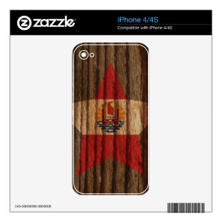French+Polynesia Flag Star on Wood theme Skins For iPhone 4