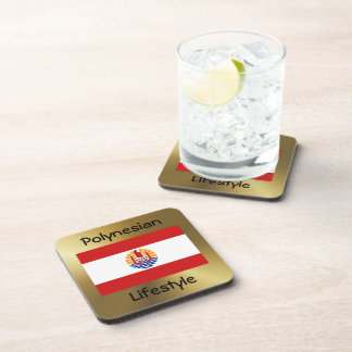 French Polynesia Flag+Text Coaster