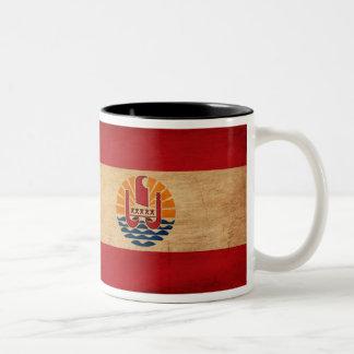 French Polynesia Flag Two-Tone Coffee Mug