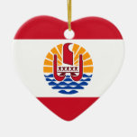 French Polynesia, France Double-Sided Heart Ceramic Christmas Ornament