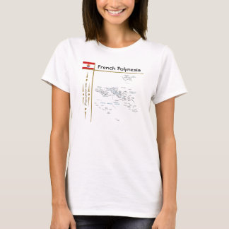 French Polynesia Map + Flag + Title T-Shirt
