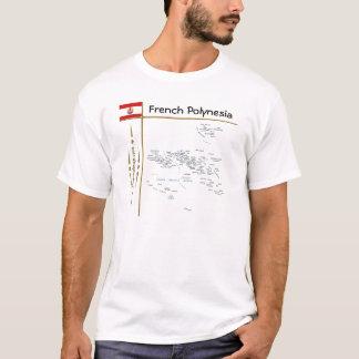 French Polynesia Map + Flag + Title T-Shirt
