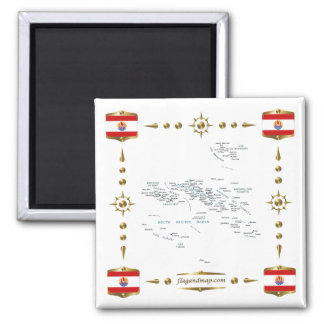 French Polynesia Map + Flags Magnet