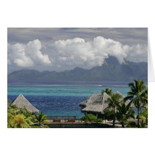 French Polynesia, Moorea. A view of the island Card