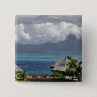 French Polynesia, Moorea. A view of the island Pinback Button