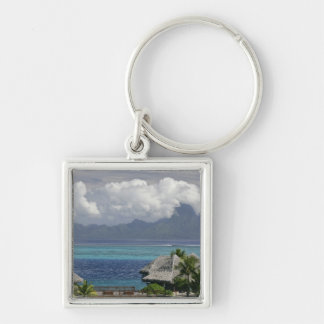 French Polynesia, Moorea. A view of the island Silver-Colored Square Keychain