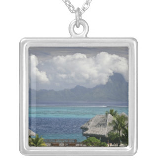 French Polynesia, Moorea. A view of the island Square Pendant Necklace