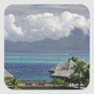 French Polynesia, Moorea. A view of the island Square Sticker