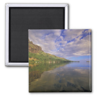 French Polynesia, Moorea. Cooks Bay. Cruise ship 2 2 Inch Square Magnet