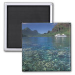 French Polynesia, Moorea. Cooks Bay. Cruise ship 2 Inch Square Magnet