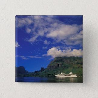 French Polynesia, Moorea. Cooks Bay. Cruise ship 3 Pinback Button