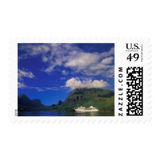 French Polynesia, Moorea. Cooks Bay. Cruise ship 3 Postage Stamp