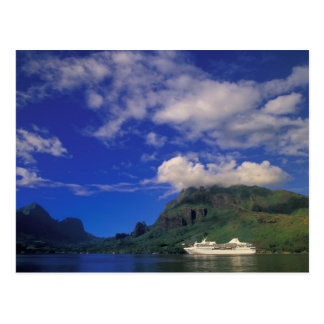 French Polynesia, Moorea. Cooks Bay. Cruise ship 3 Postcard