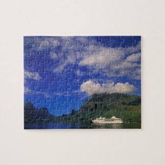 French Polynesia, Moorea. Cooks Bay. Cruise ship 3 Puzzle